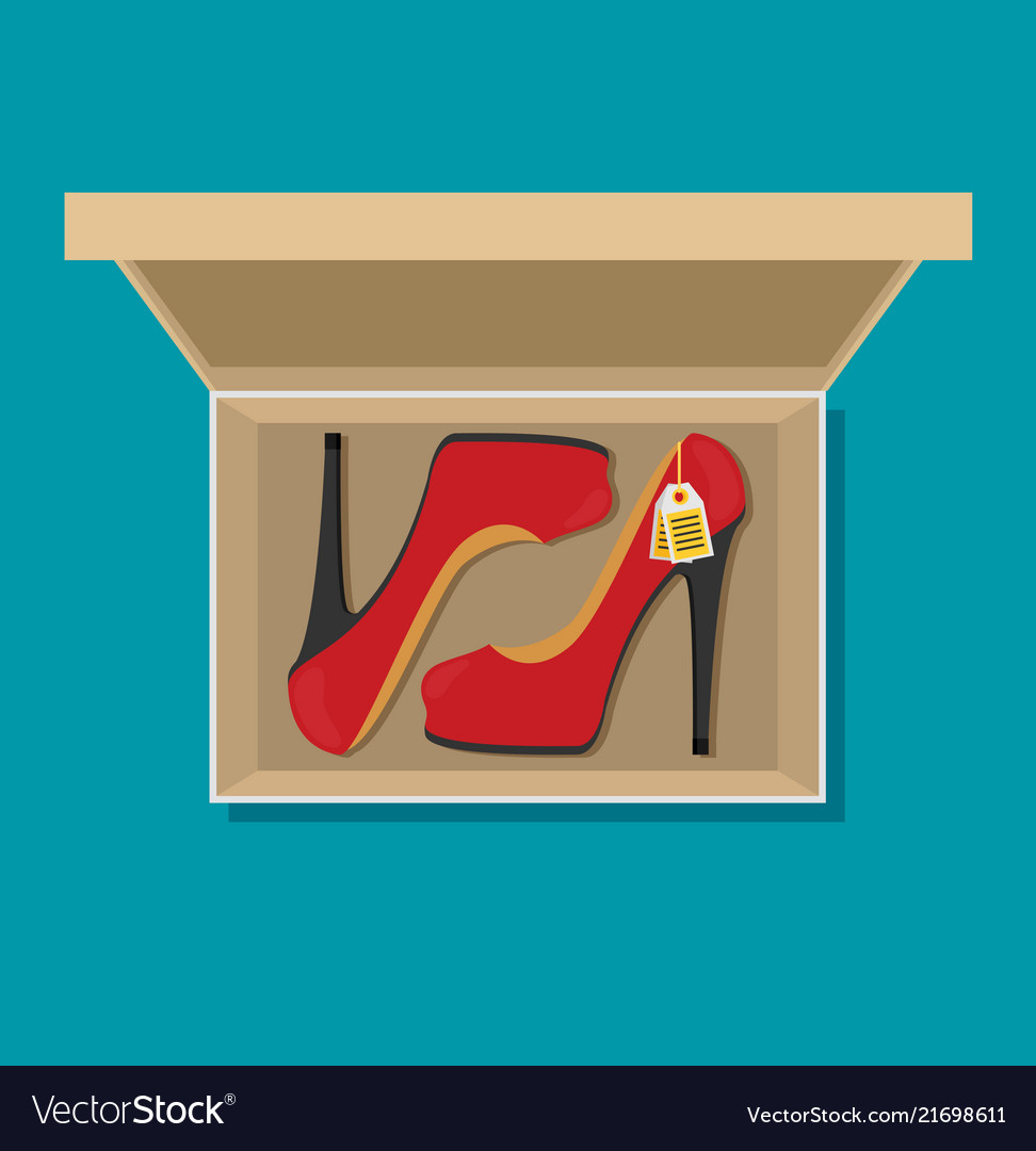 Flat heels shoes in box