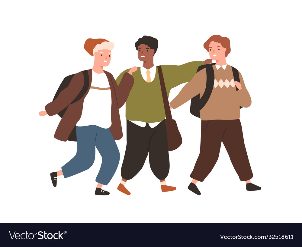 Group smiling diverse pupils hugging walking vector