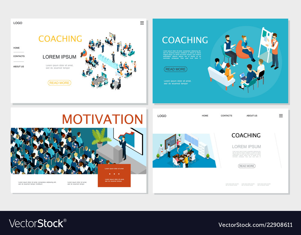 Isometric business coaching websites set