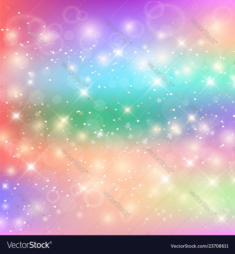 kawaii baby unicorn background with glowing stars vector 23708611