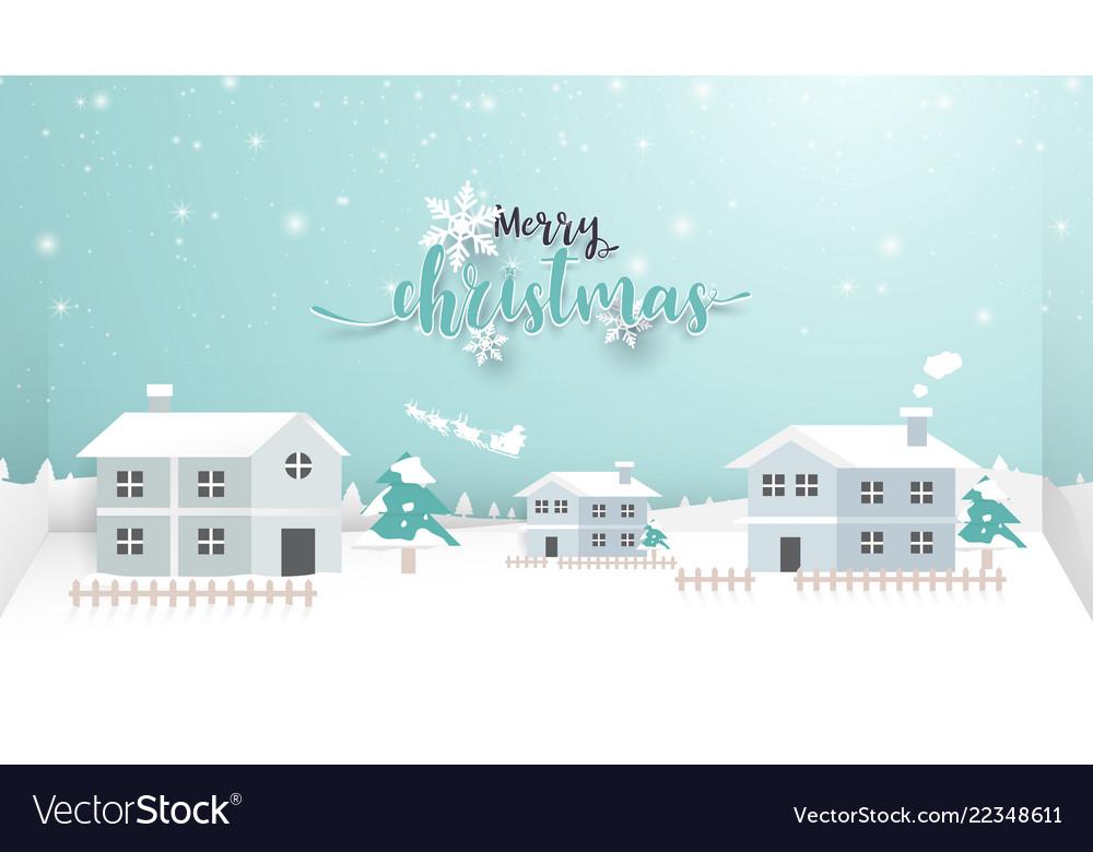 Merry christmas winter snow village