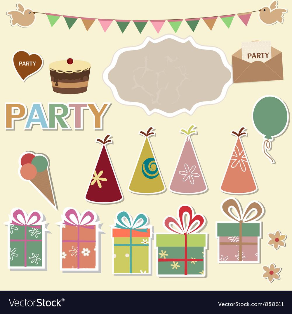 Party design elements for scrapbook