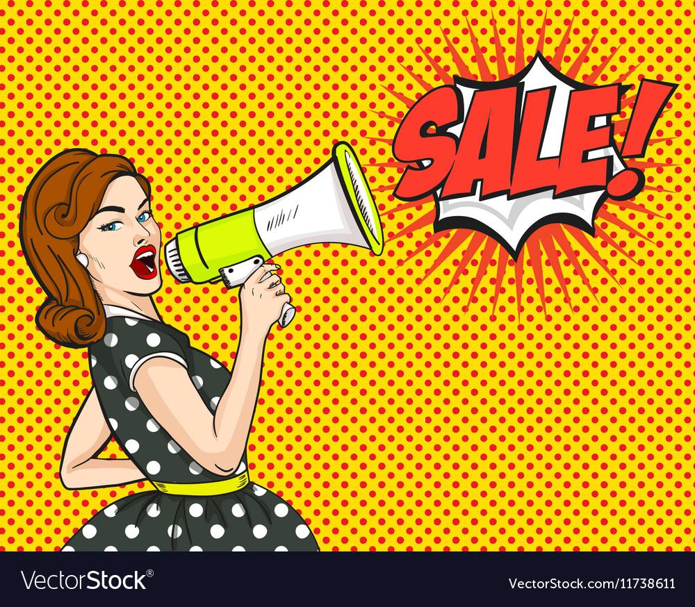 pop art woman sale discounts sign royalty free vector image