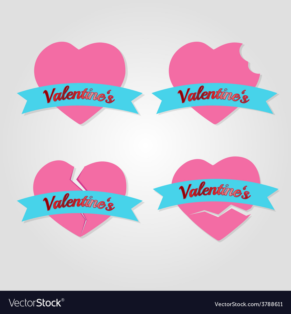 Set of hearts badges and labels valentines day