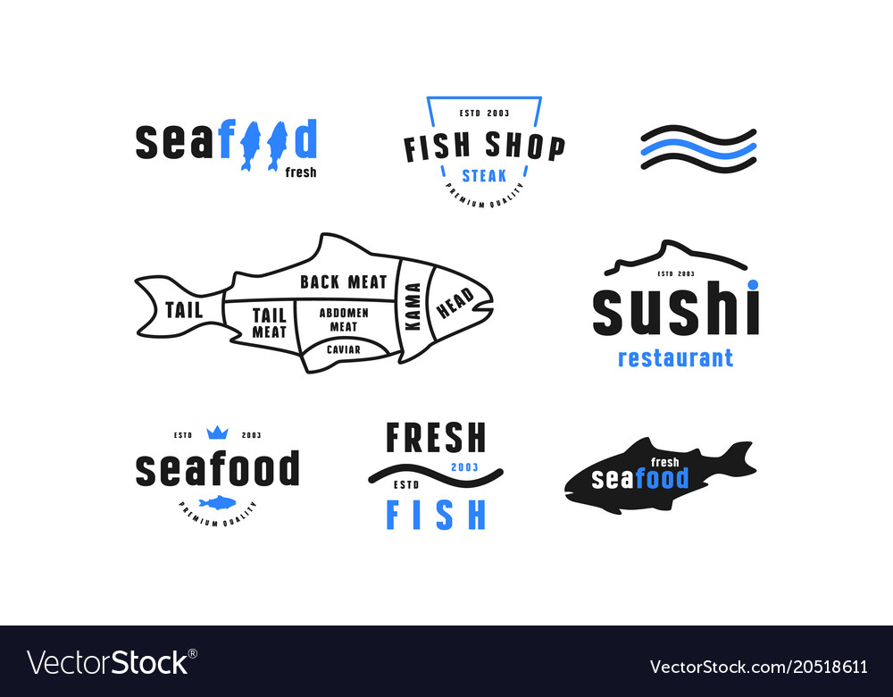 stock fish cuts diagram and label for seafood shop Label Border stock fish cuts diagram and label for seafood shop vector image