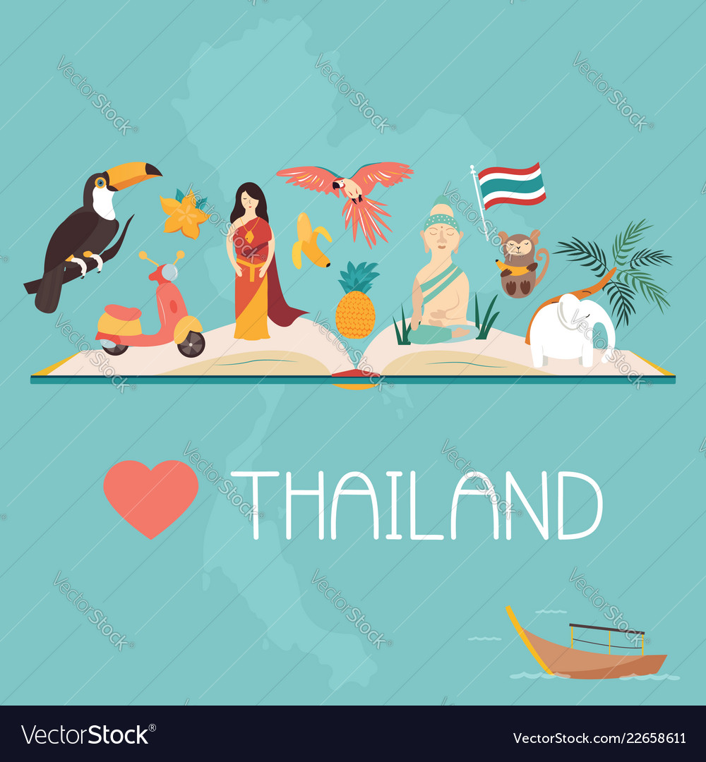 Thailand bright poster with landmarks and symbols