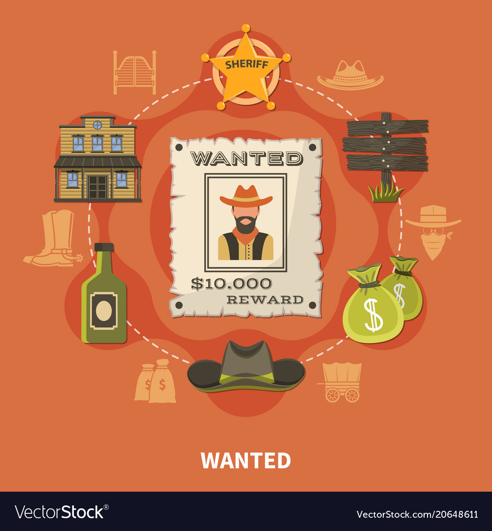 Wanted person cowboy round composition