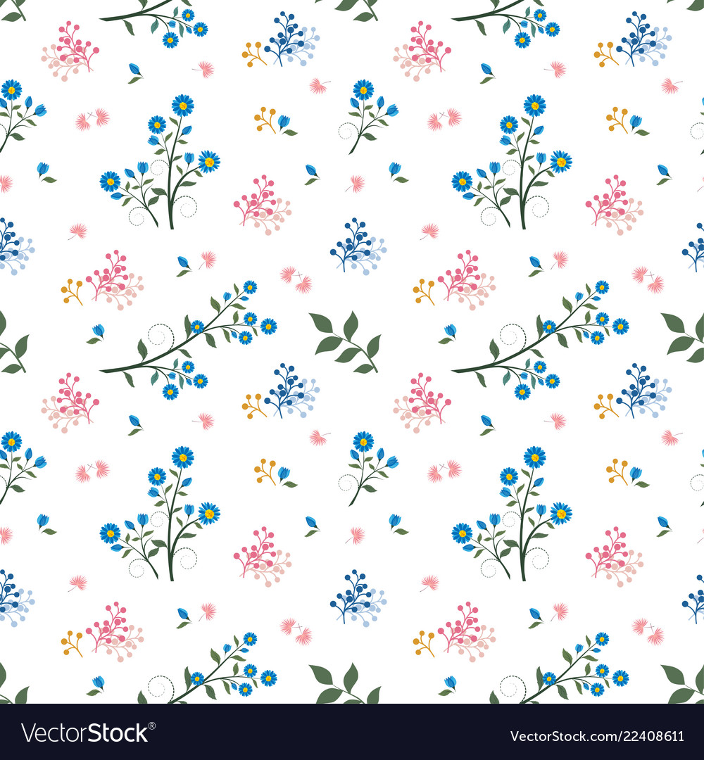 Wild flower seamless pattern on blue and pink