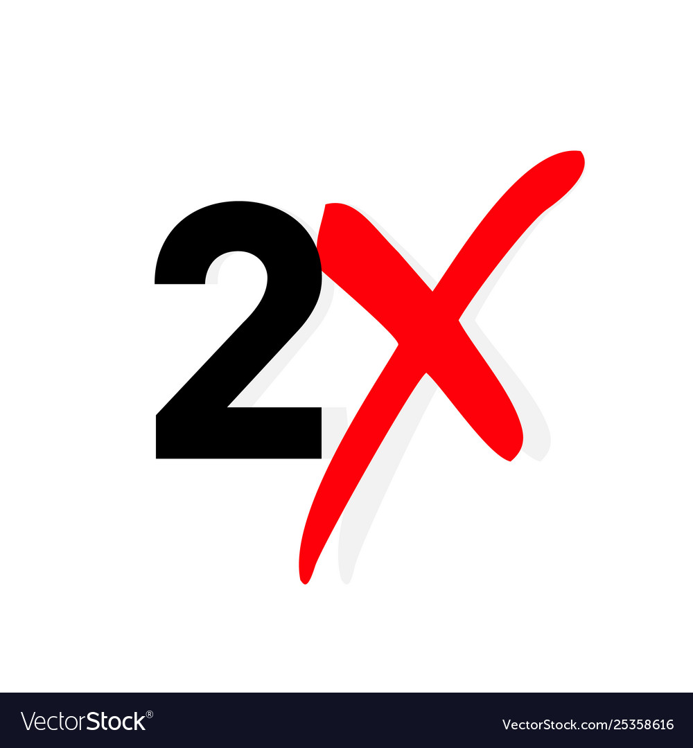 2x logo icon x2 text letter double faster