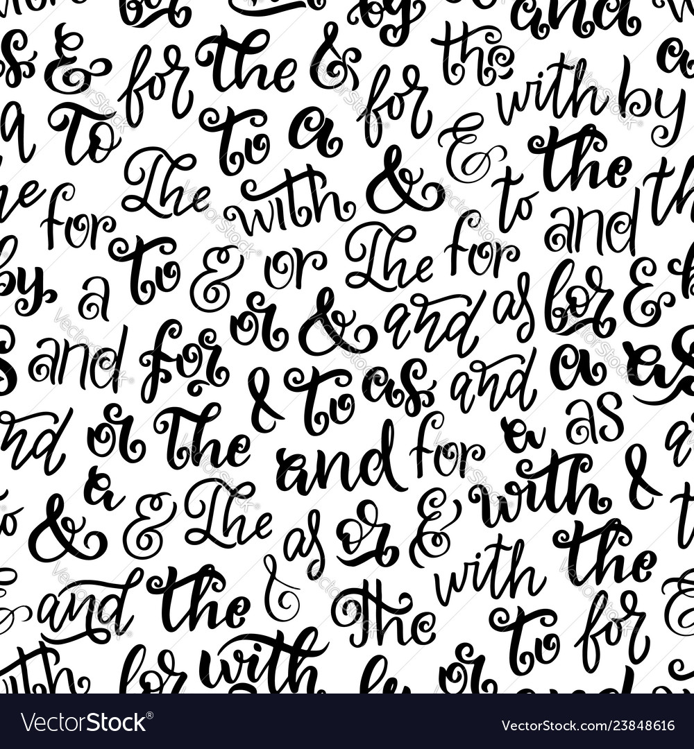 Ampersands prepositions lettering seamless pattern