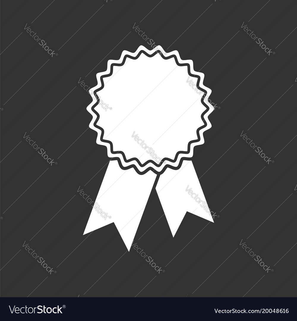 Badge with ribbon icon in flat style on black
