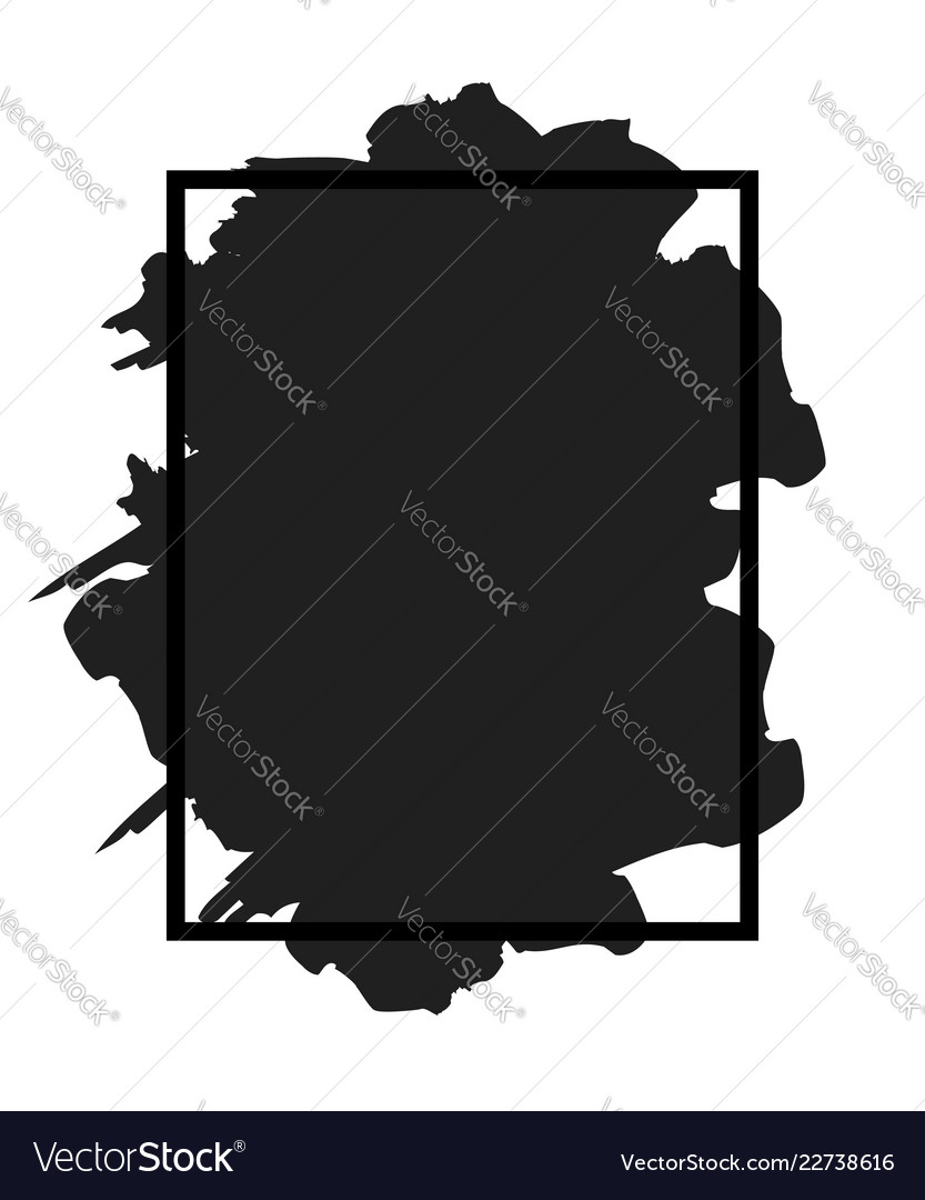 Brush paint stroke grunge stain ink in frame
