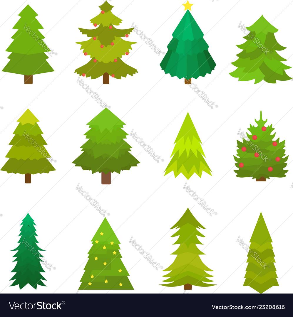 Christmas decorated green tree set fir