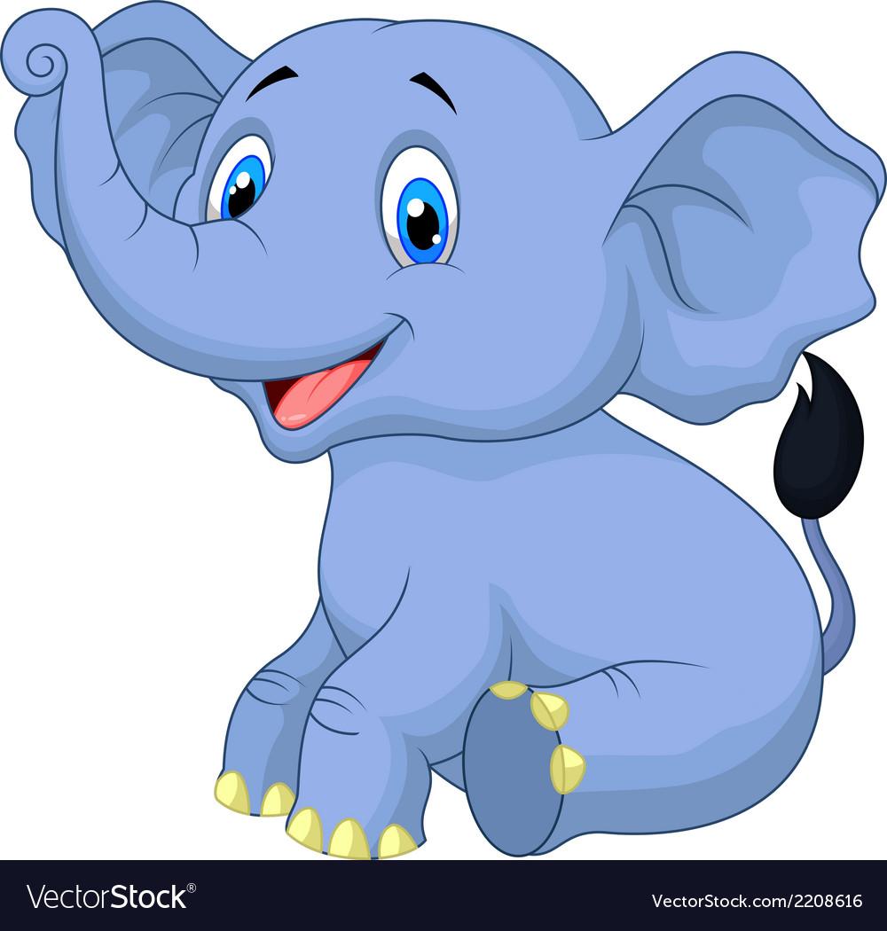 cute baby elephant cartoon sitting royalty free vector image