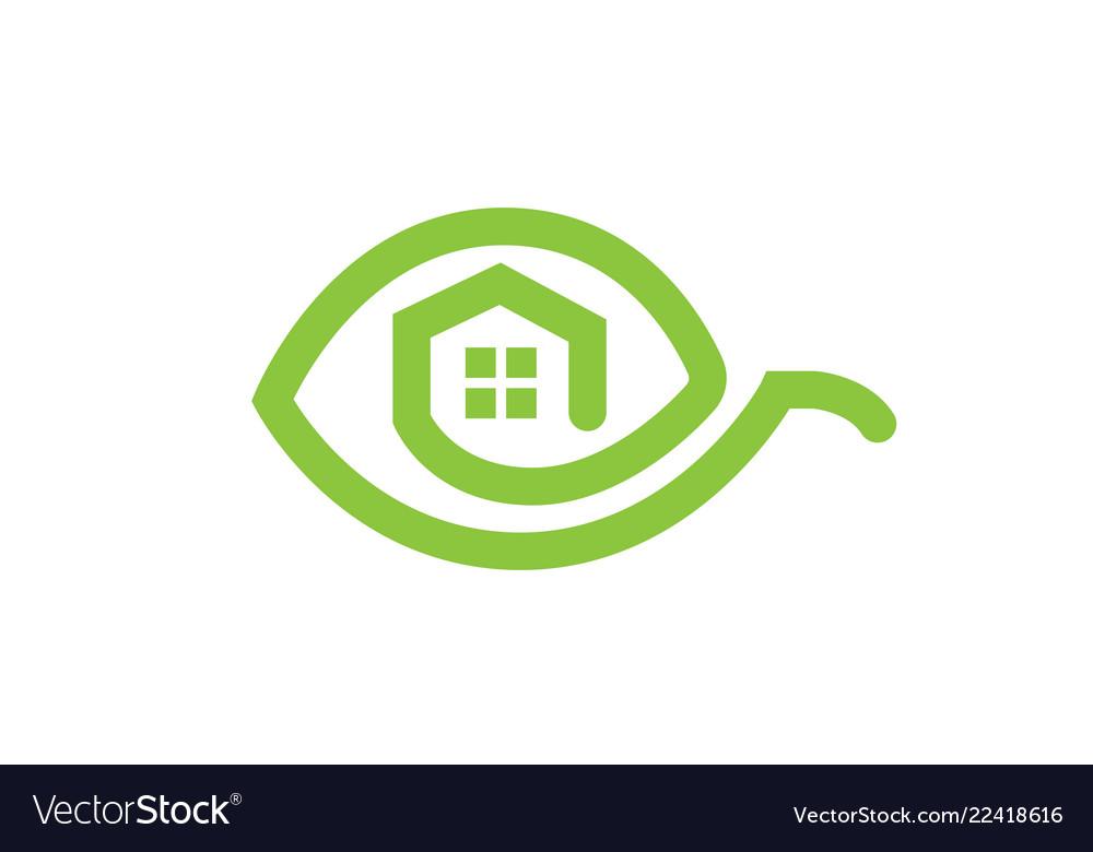 Eco house green leaf logo