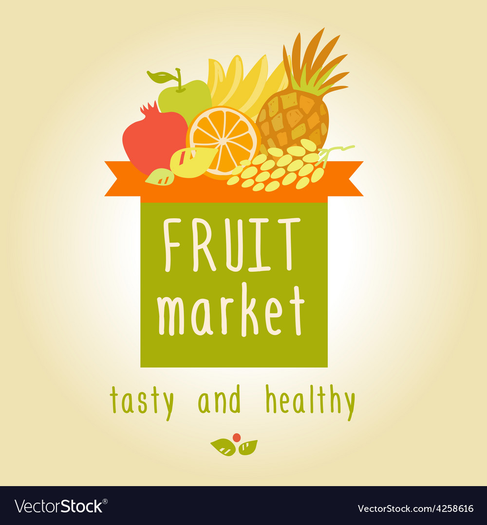 fruit market tasty and healthy editable template vector image