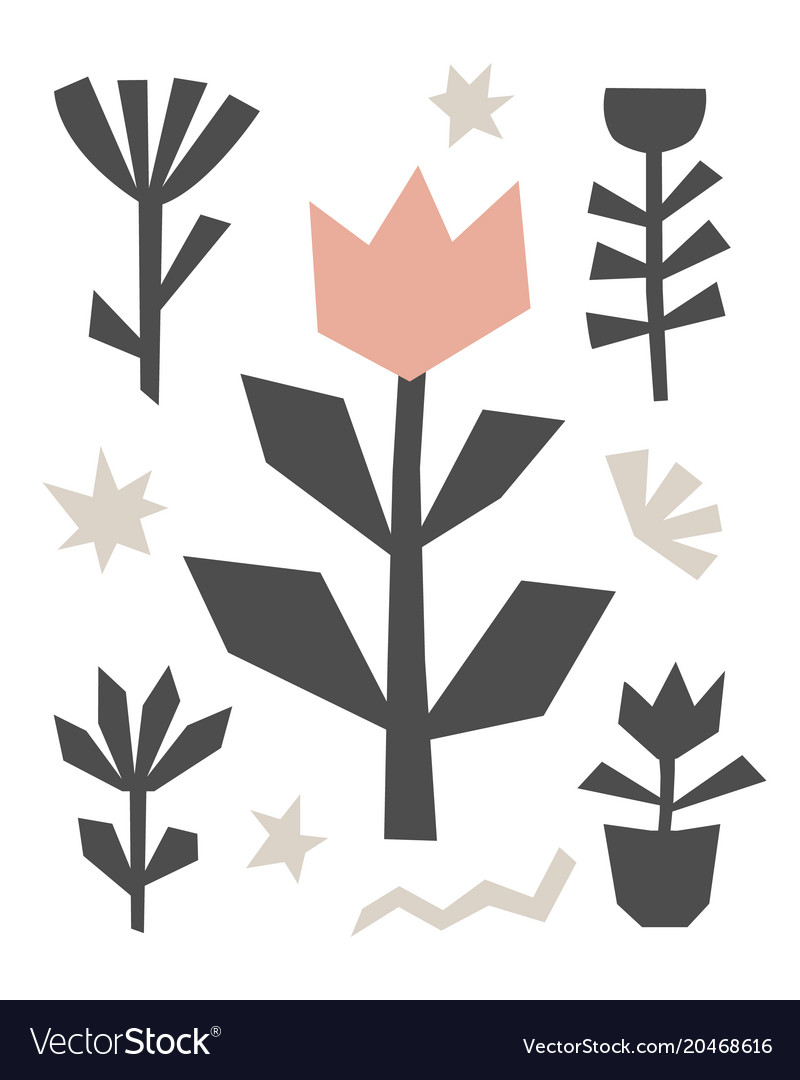 Hand drawn cut paper floral background