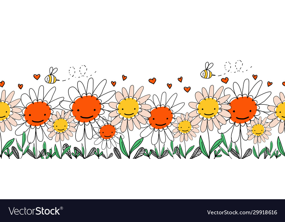 Kids doodle flowers and bees seamless