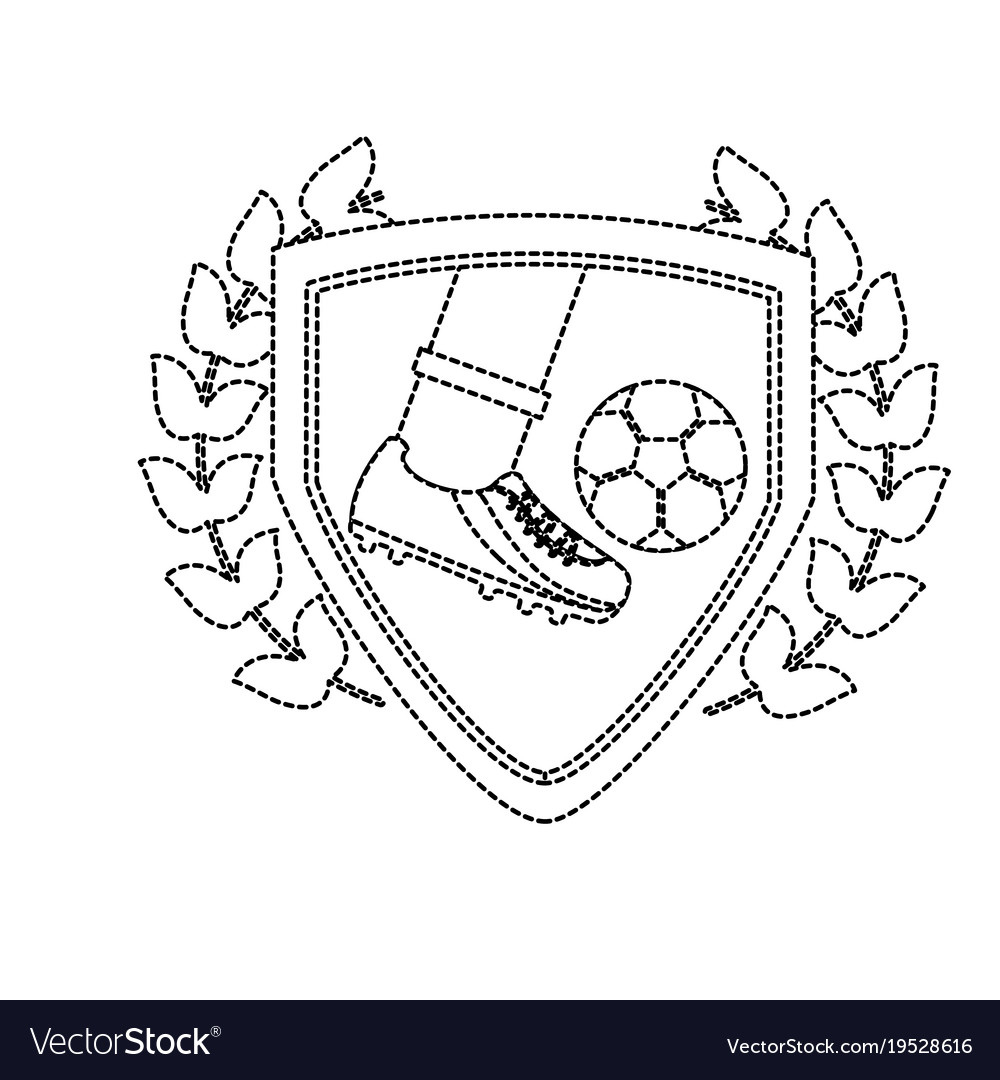 Leg foot kicking soccer ball inside shield emblem