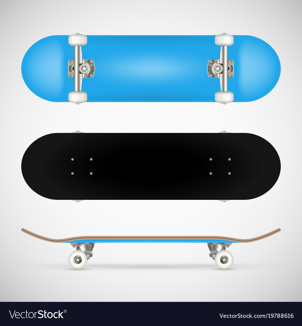 realistic skateboard template royalty free vector image
