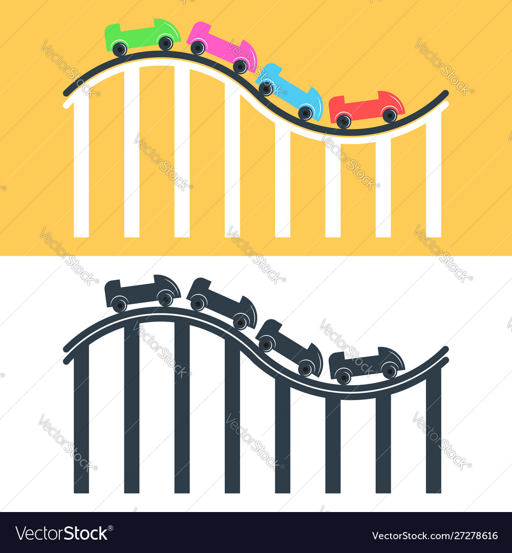 Roller coaster logo or icon set multicolored and