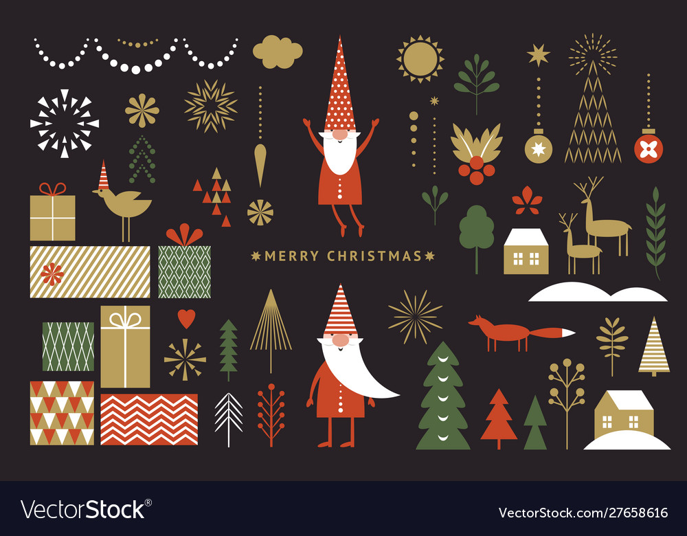 Set graphic elements for christmas cards