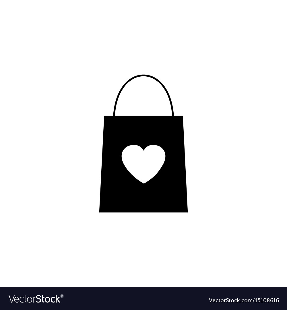 Shopping Bag With Heart Solid Icon Royalty Free Vector Image
