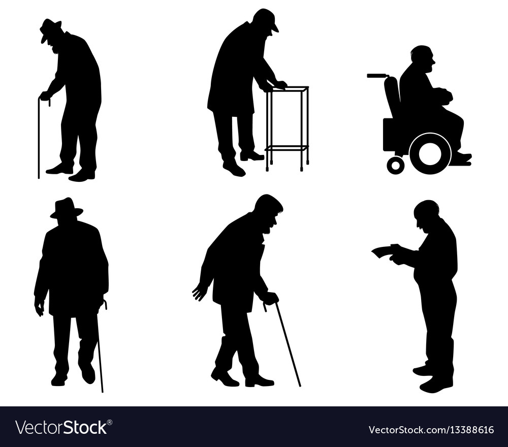 Six old people silhouettes