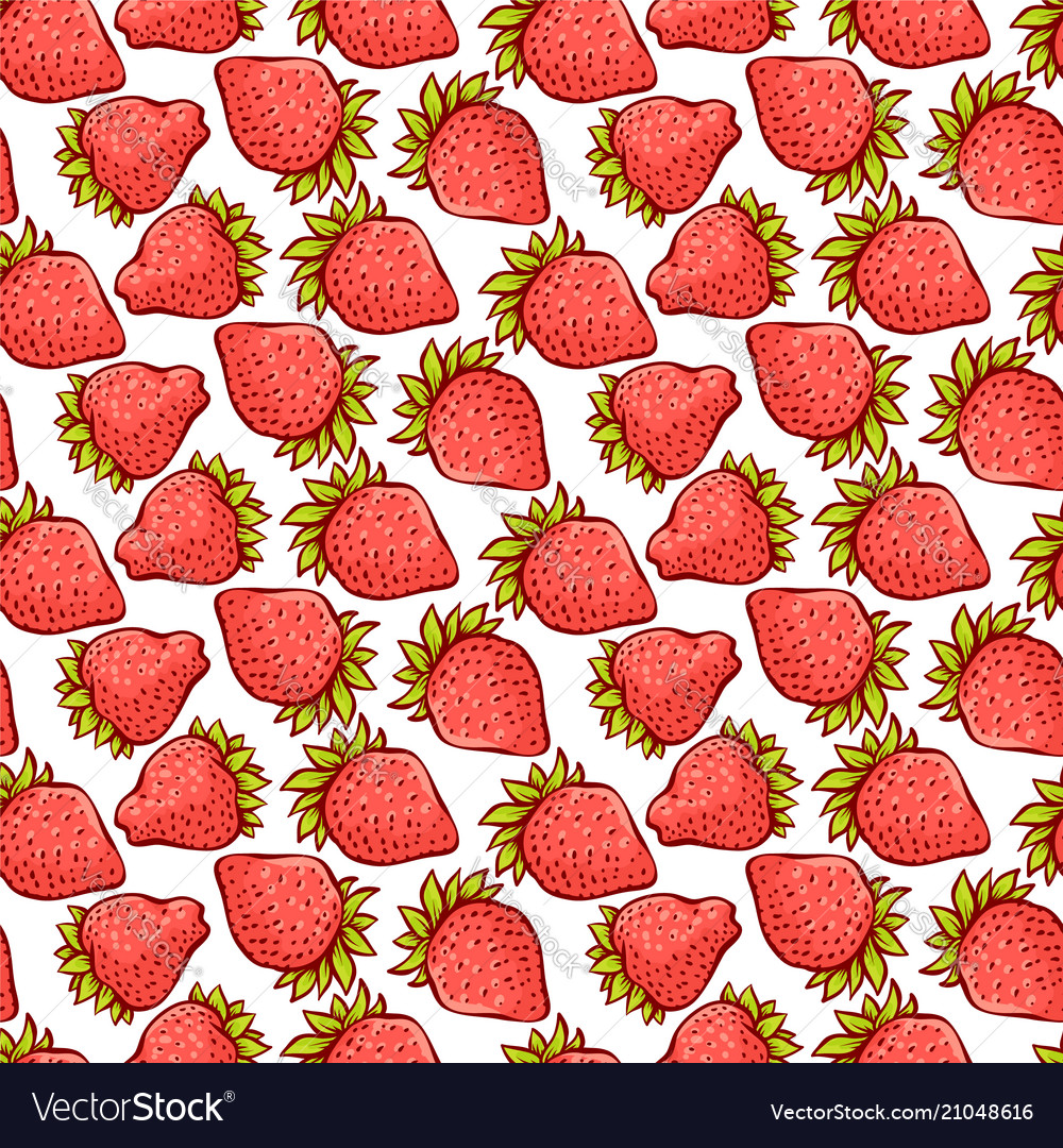 Strawberry berries seamless pattern
