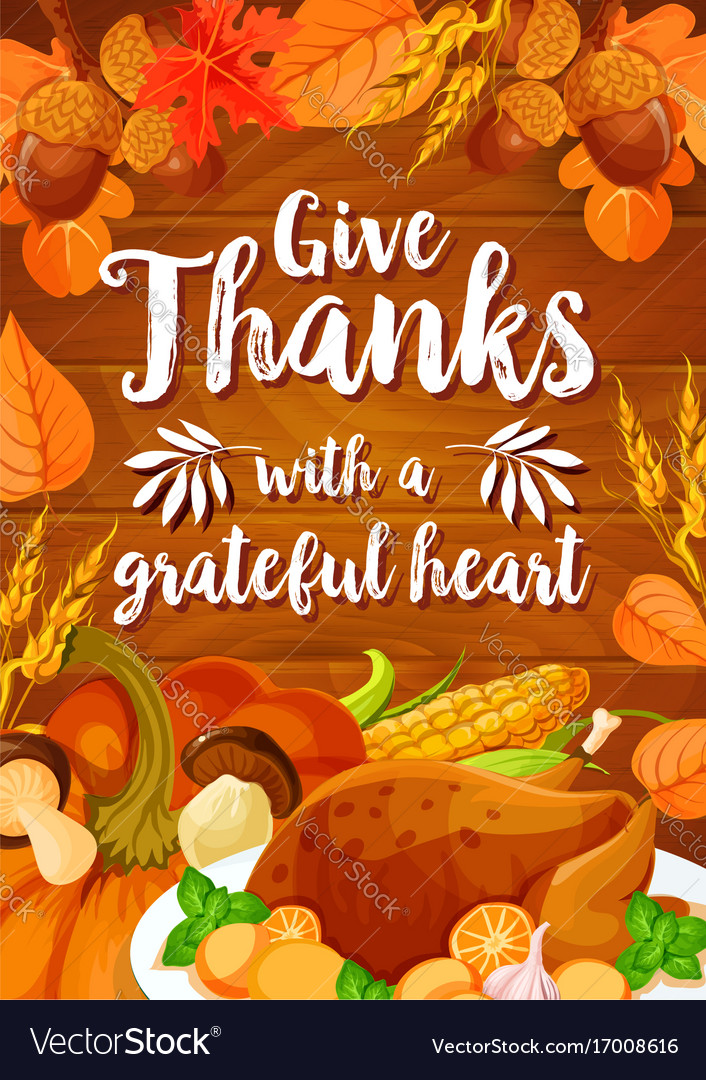 Thanksgiving Day Dinner Banner On Wood Background Vector Image