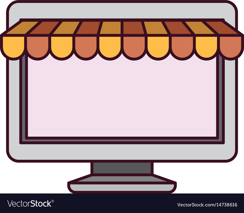White background with desktop computer online vector image