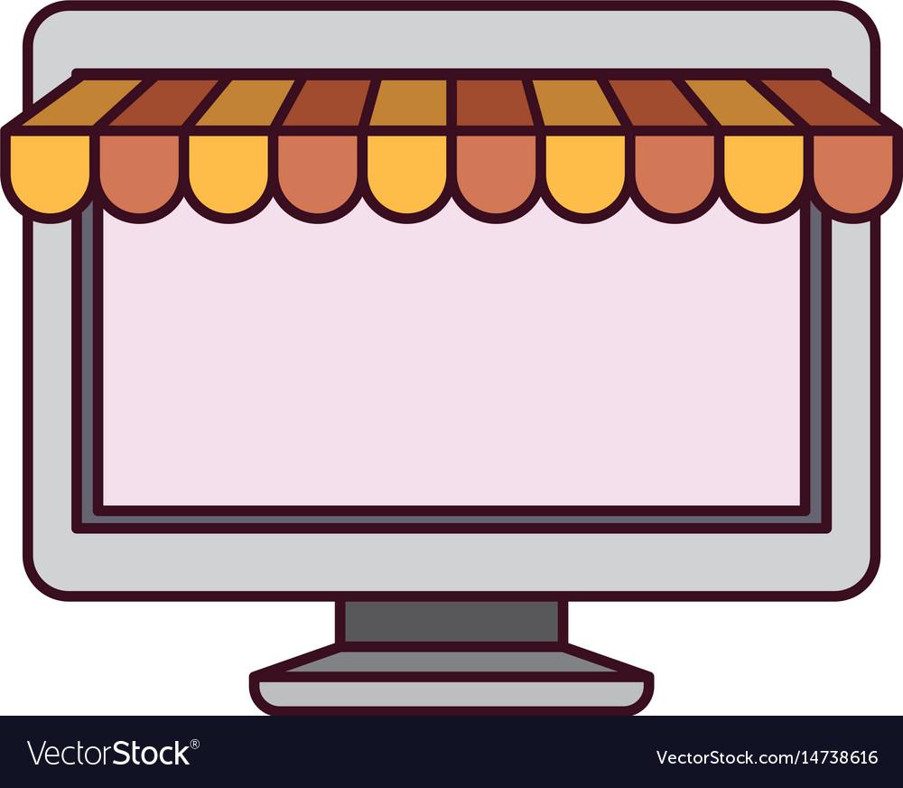 White background with desktop computer online