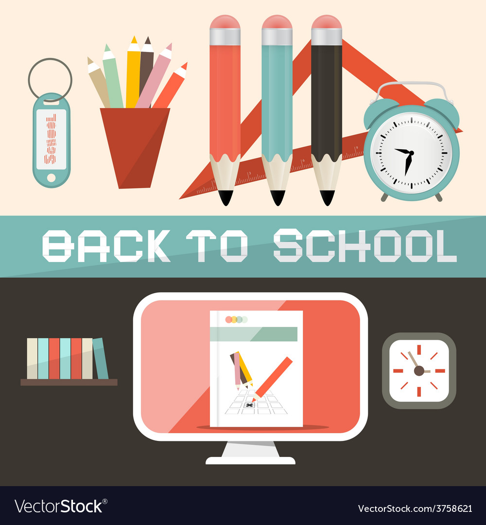 Back to School in Retro Flat Design Style vector image