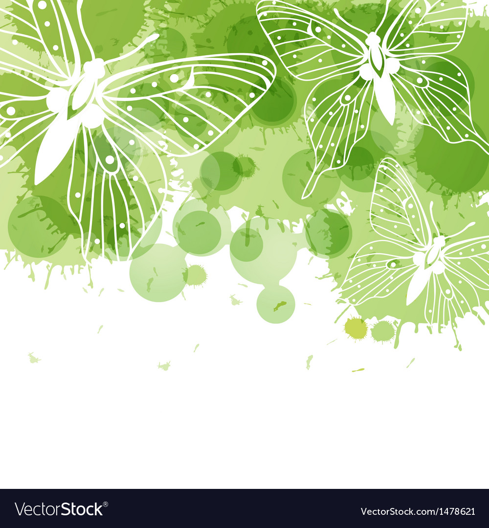 Beautiful background with butterflies and green vector image