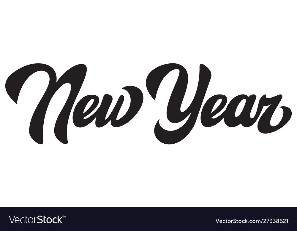 Black calligraphic inscription new year lettering