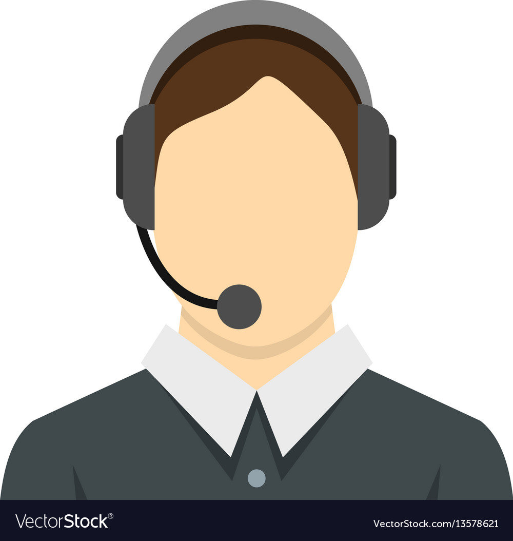 Call center operator icon flat style