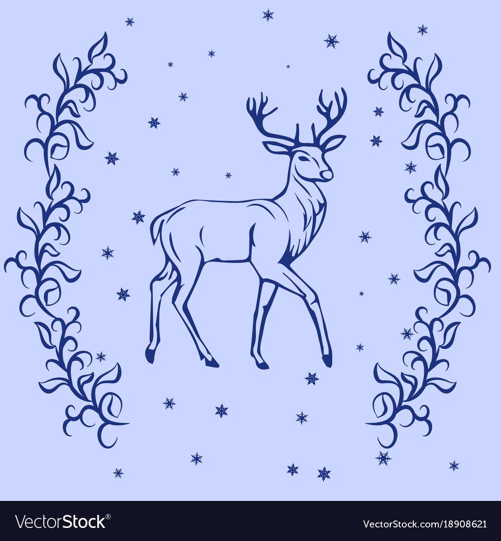 Christmas reindeer silhouette vector image