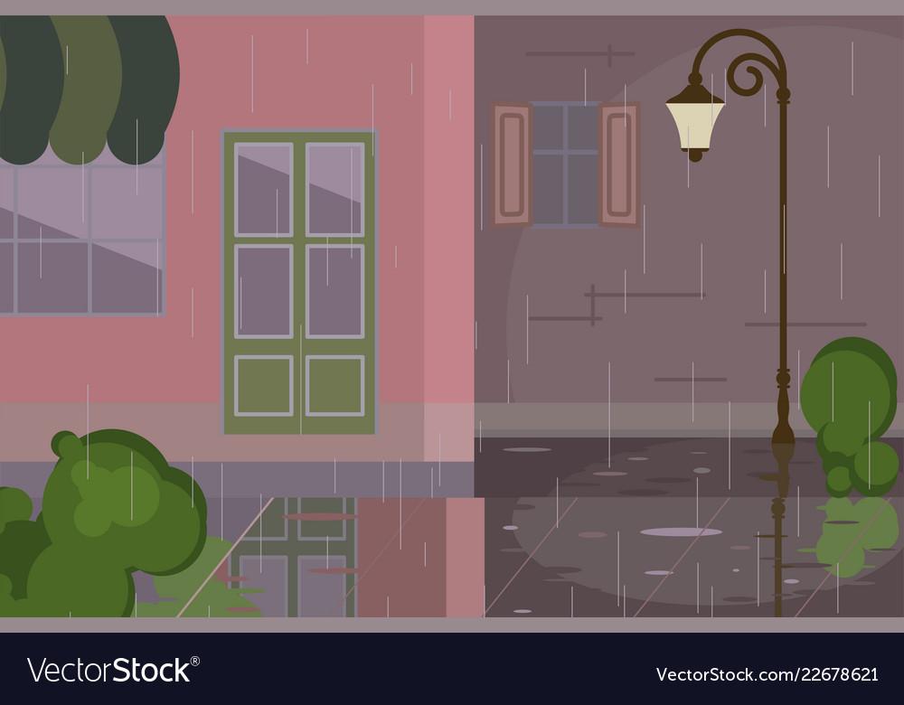 Cityscape with rainy scene