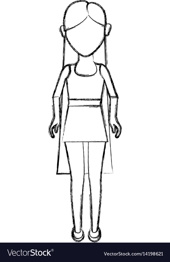 Contour young woman with hairstyle and short dress vector image