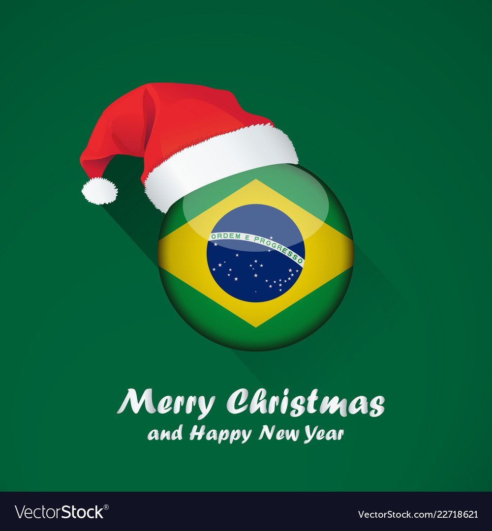 Christmas In Brazil.Flag Of Brazil Merry Christmas And Happy New Year