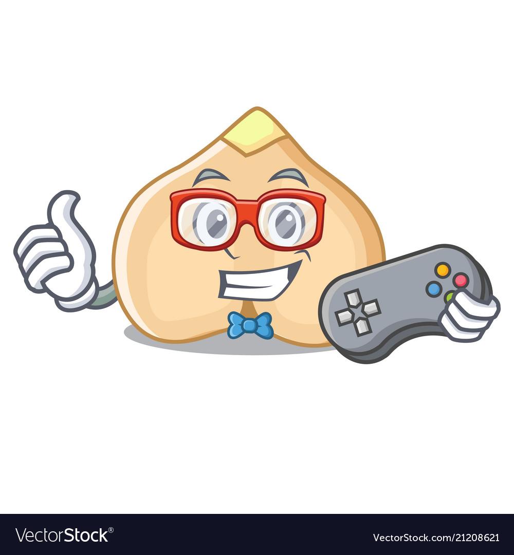 Gamer chickpeas mascot cartoon style