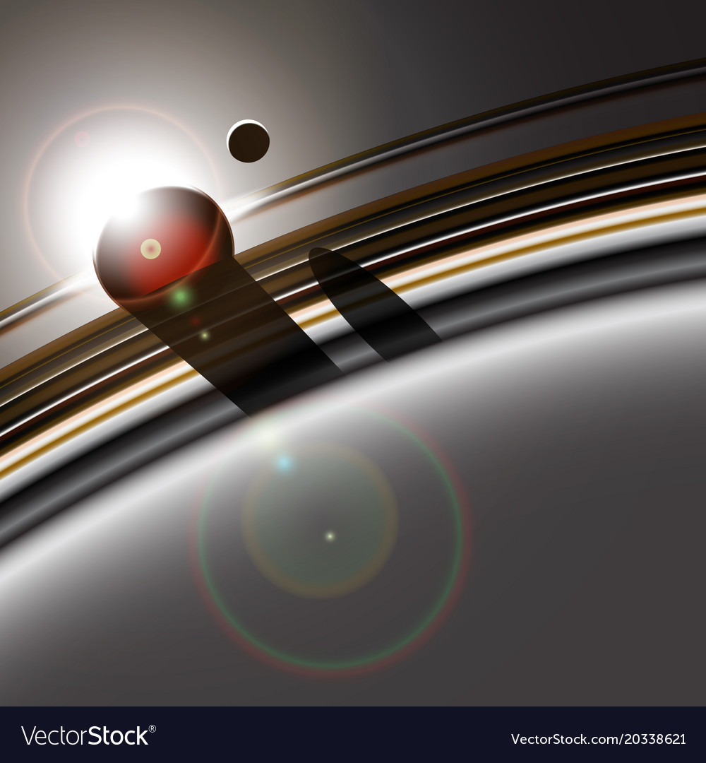 Gas giant ring system and its moon interacting