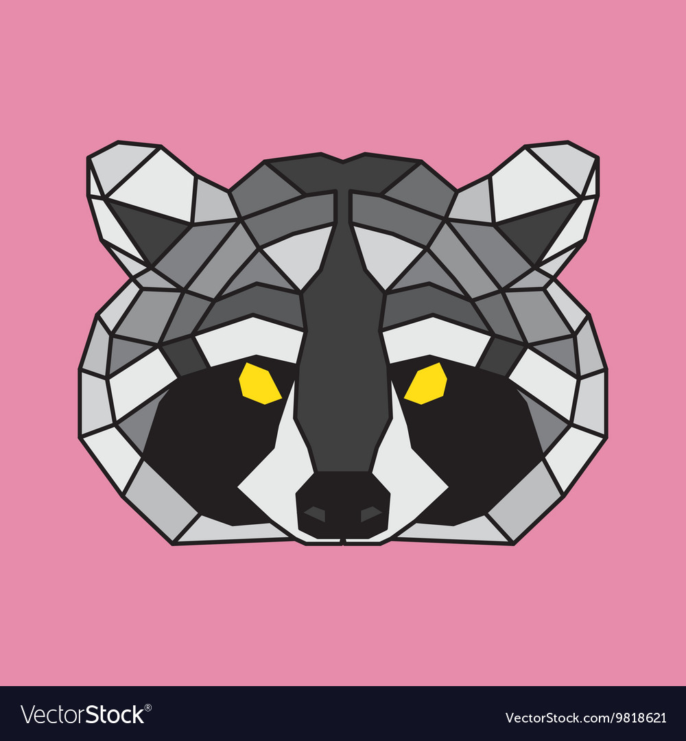 Grey and black low poly raccoon