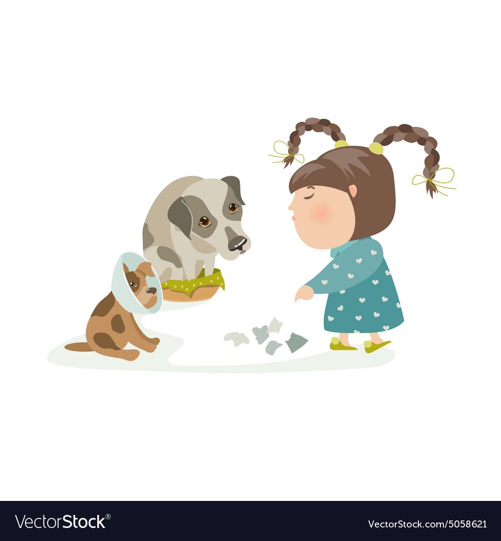 Little girl punishing dogs vector image