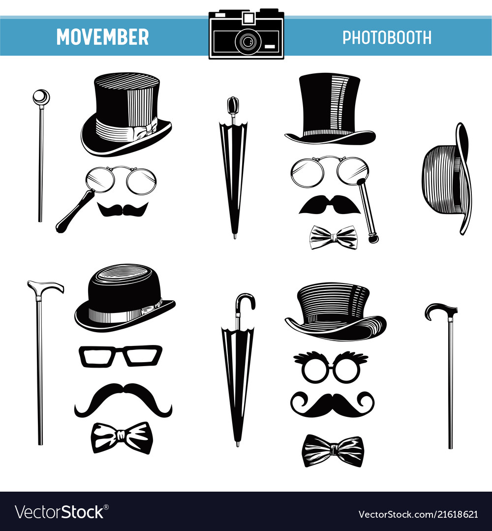 image relating to Printable Props known as Movember retro celebration printable gles hats props