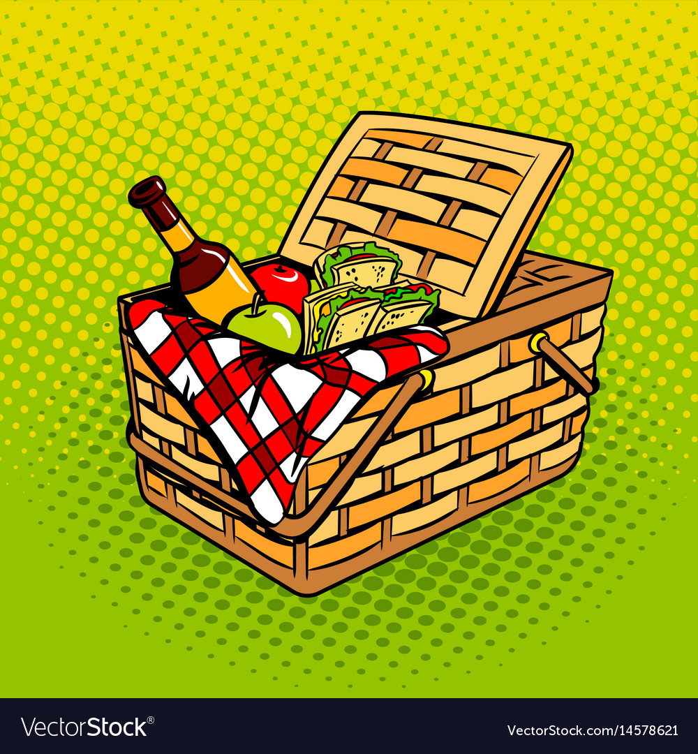 Picnic basket with food products pop art vector image