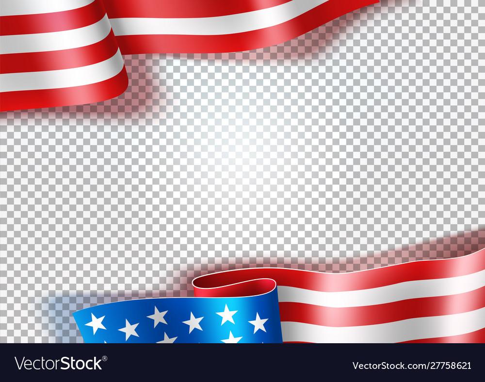 Realistic waving american flag usa symbol