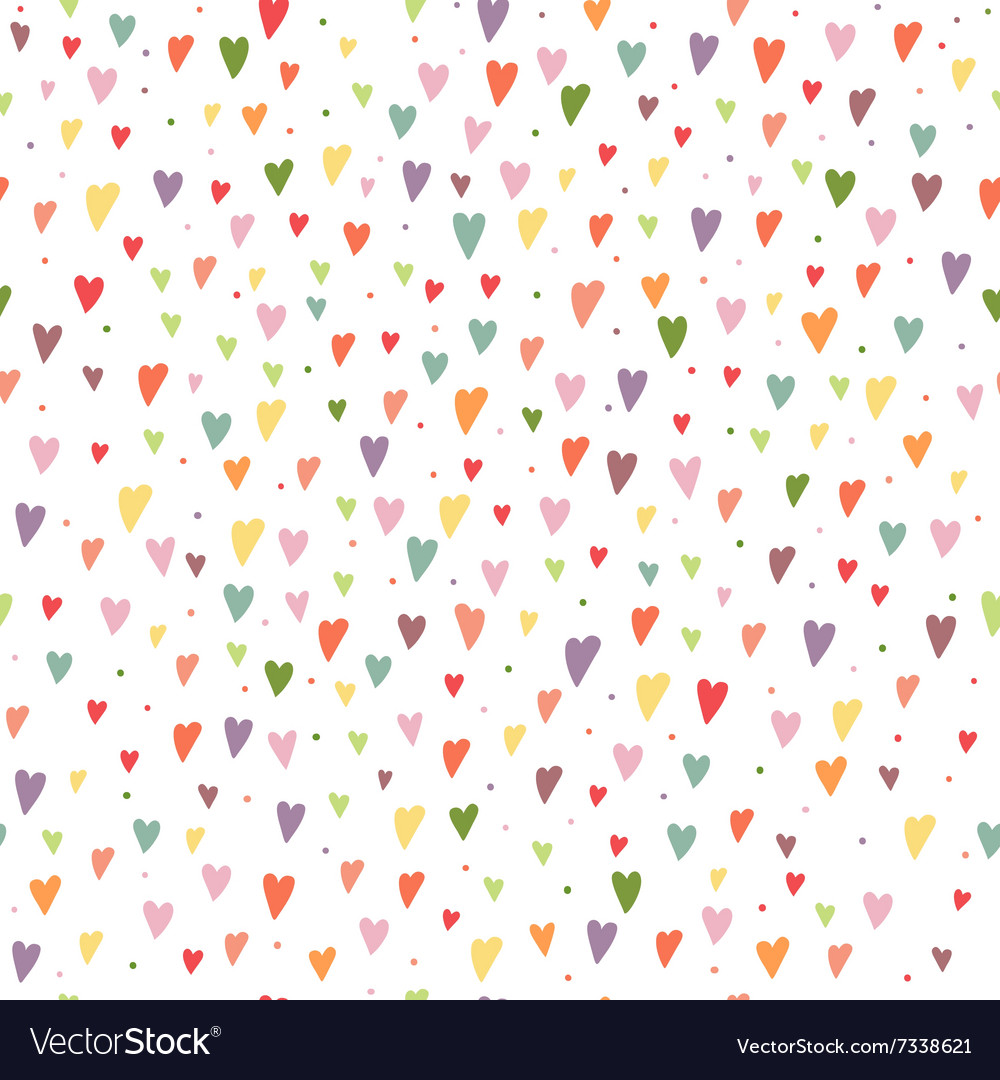 Seamless background with colorful hearts and