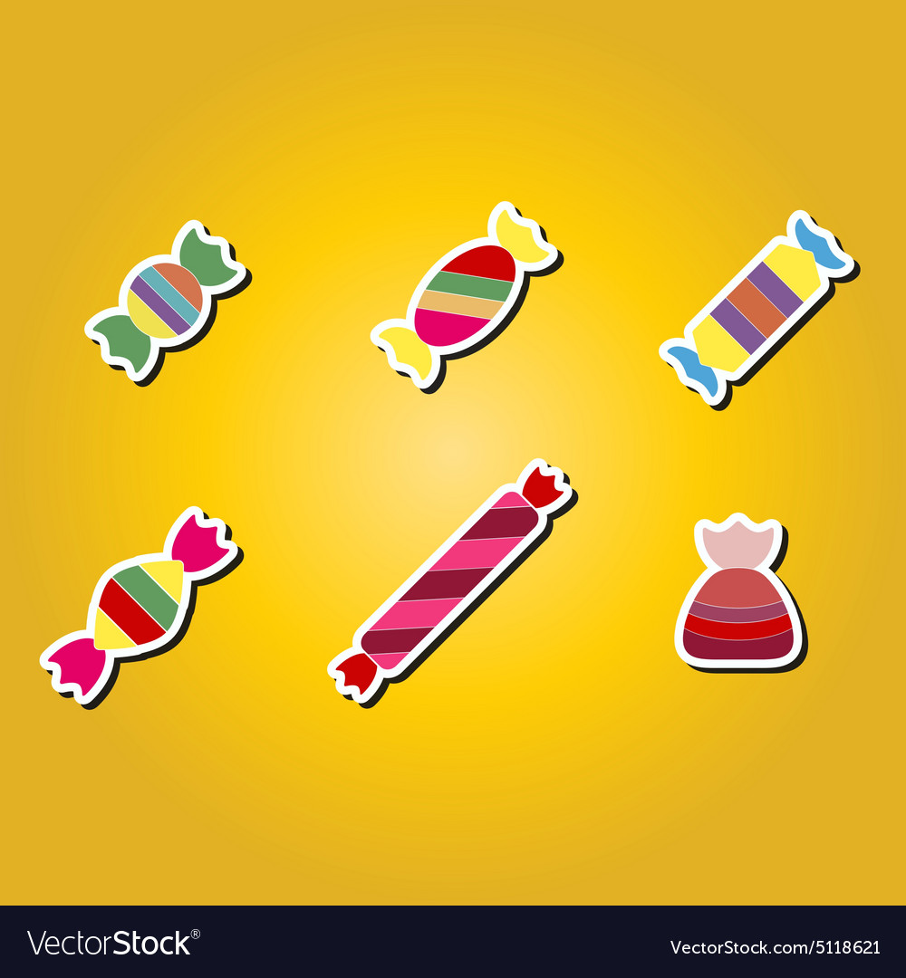 Set of color icons with candy