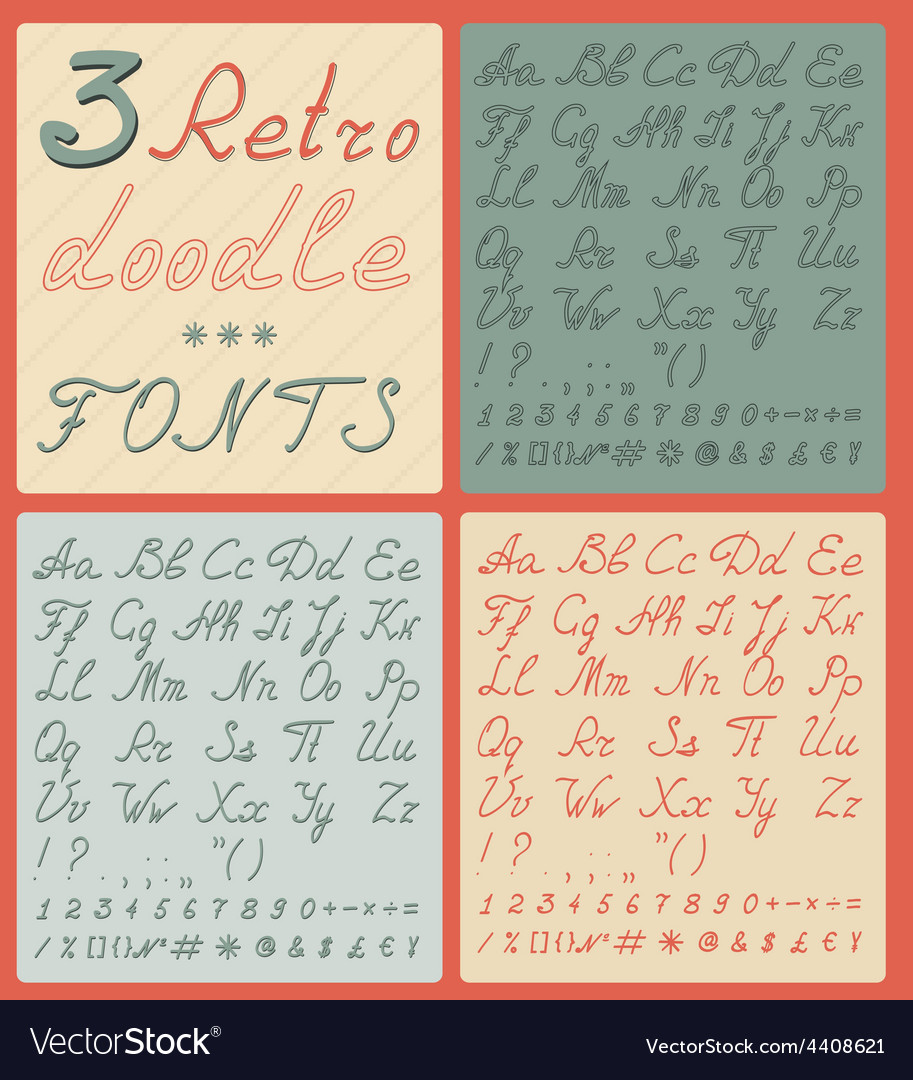 Set of three retro doodle fonts